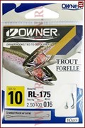 Форелевые поводки Owner Trout RL-175, 10шт, 0.18мм, №8
