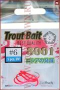 Крючки для блесен Trout Bait UV Hooks 8001, 5шт, №6, красный флюо